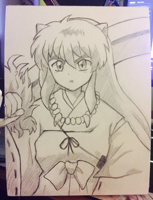 ORIGINAL copy Inuyasha anime pencil sketch 6x8 by CheyenneOTwitch