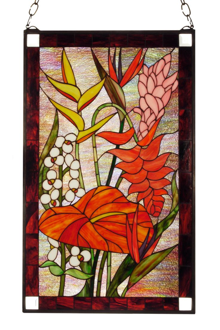 TROPICAL ISLAND Flower TIFFANY Style Stained Glass WINDOW 20 x 32 Florida Hawaii in Pottery & Glass, Glass, Art Glass, Stained Glass, Studio Arts | eBay