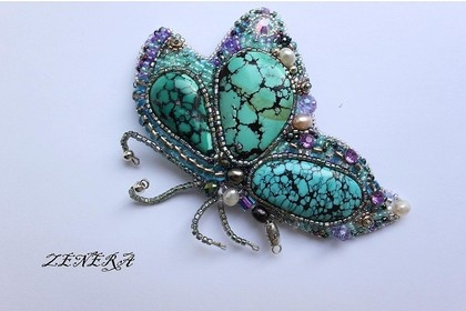Bead embroidered butterfly by Zenera