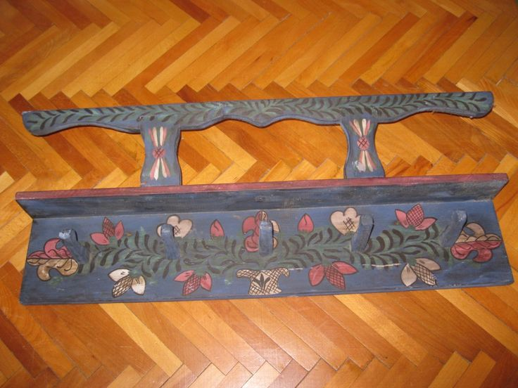 Antique hand painted traditional Hungarian / Romanian pottery holder / wall hanging shelf, rack originated from Transylvania / Calata / Kalotaszeg region.  At www.greatblouses.com