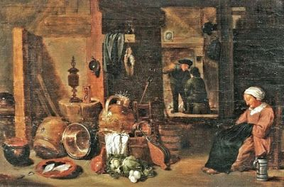 Late 1600's - woman at home.  This photo shows various cooking vessels and what appears to be a lamp.