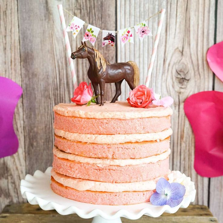 Loving the rustic layered birthday cake at this Pony/Horse Birthday Party!! See more party ideas and share yours at CatchMyParty.com #rustic #cake #pony