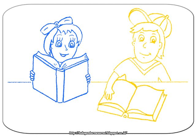 Gambar Mewarnai - Mewarnai Gambar Anak Membaca Buku.   Gambar di atas adalah gambar mewarnai ana...