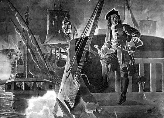 08.07.1716 Slaget i Dynekilen: Peter Wessel «Tordenskjold» seiret over en svensk flåte ved Dynekilen i Sverige (Wikipedia) -  http://milhist.dk/soldaten/tordenskjold/Tordenskiold2.jpg