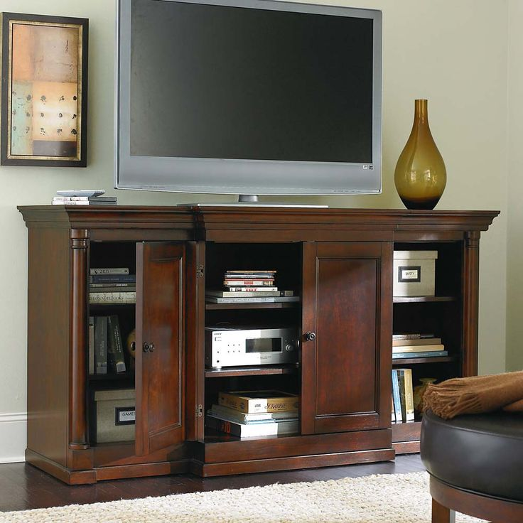 Louis Philippe Tall Media Cabinet By Bassett Furniture Features Power  Strip, 2 Doors,
