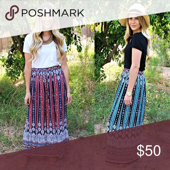 NWT red boho tribal maxi skirt NWT red boho tribal maxi skirt size Medium. Only selling the red skirt on the left Boutique Skirts Maxi