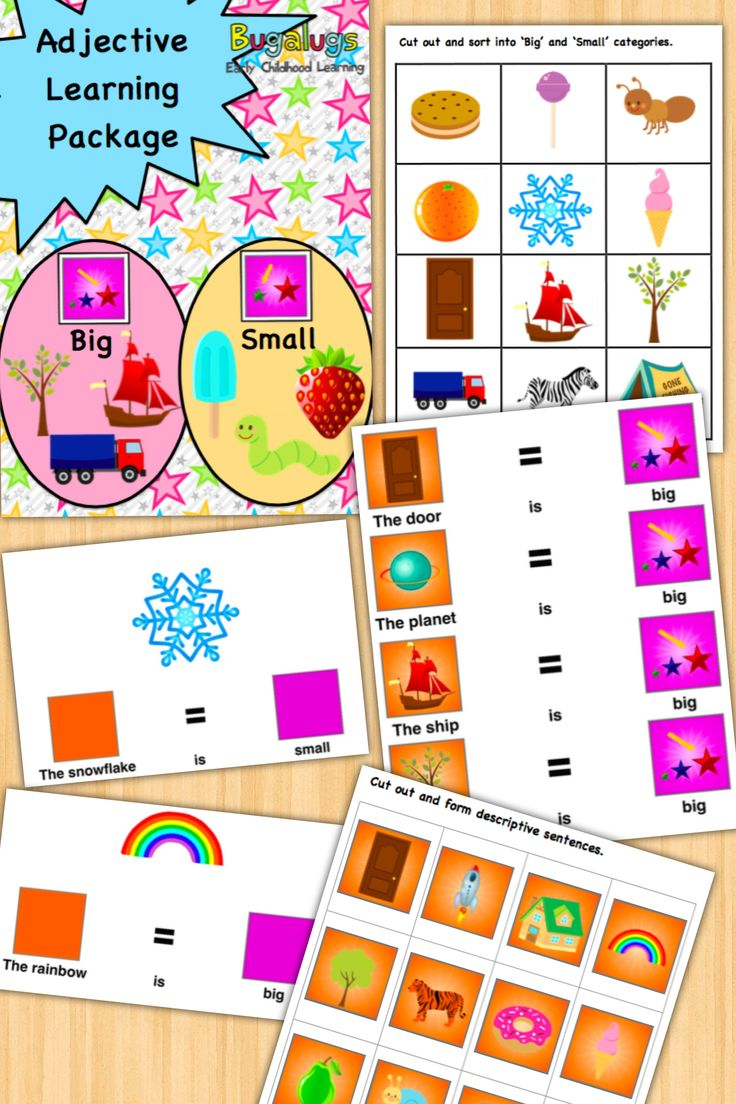 - Big and Small Concept Learning Package -Learn the adjectives 'big' and 'small' in this fully inclusive package of activities and flashcards. Use the provided activities to help the child categorise everyday objects into 'big' and 'small', form descriptive sentences using these adjectives and much more. Perfect for Speech Pathologists, ESL and special needs / special education teachers.