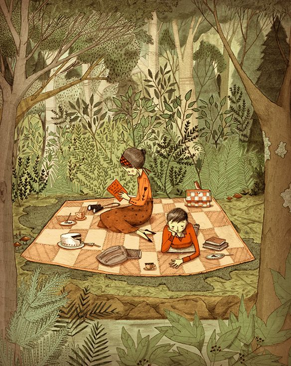 As a child, I thought a picnic was magic! Art by Abigail Halpin