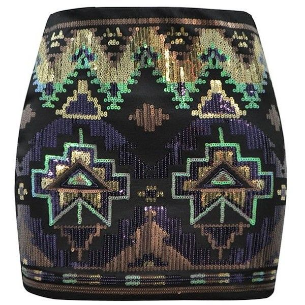 SKIRT IN AZTEC SEQUIN ($30) ❤ liked on Polyvore featuring skirts, saias, bottoms, faldas, aztec print skirt, aztec sequin skirt, aztec skirts and sequin skirt