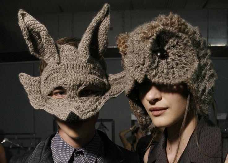 Helen Rodel - crochet masks - textile art - owl and wolf