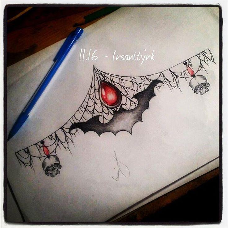Background idea for bat sternum tattoo