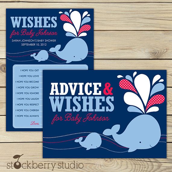 Whale Baby Shower Wishes for Baby Advice by stockberrystudio, $10.00