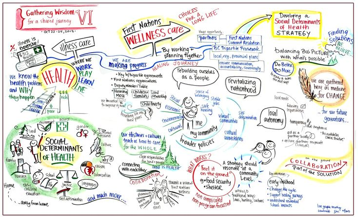 Visuals about Social Determinants of health in an Indigenous context for the First Nations Health Authority