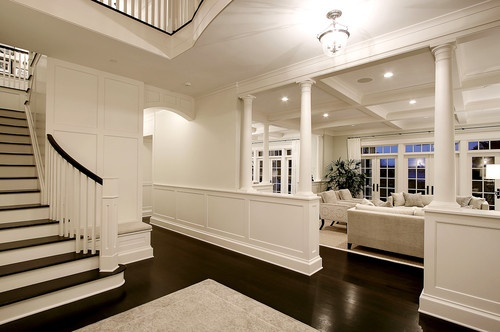 Foyer traditional entry: Moon Design, Ideas, Dining Room, Floors, White Walls, Living Room, House, Half Wall, Homes