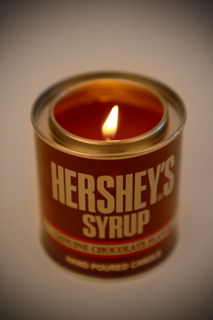 Hershey's Syrup Candle by urbanoutfitters: Mmm. $10 #Candle #Chocolate_Candle #Hersheys_Syrup_Candle