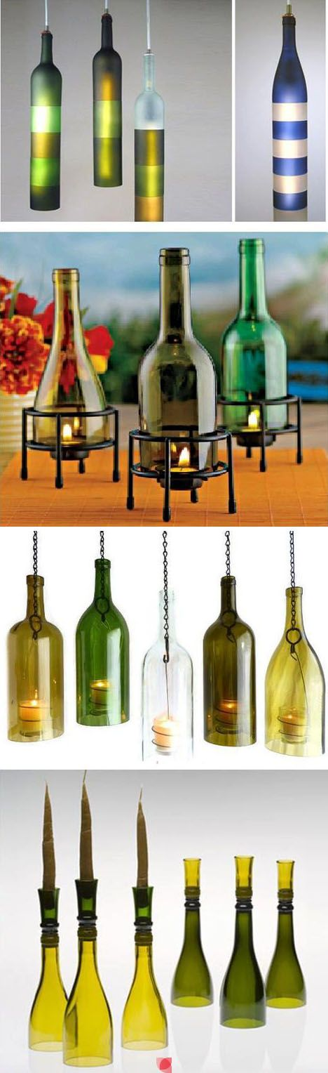 assorted way on how you can re-use or re-purpose your empty wine bottles ;-p