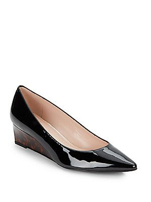 Stuart Weitzman Nuevo Saffiano Patent Leather Wedge Pumps -