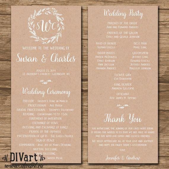 Rustic Wedding Program Ceremony Program PRINTABLE files by DIVart