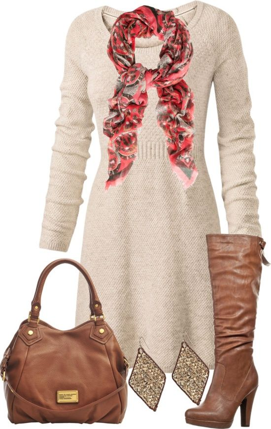 white/cream sweater dress with flash of rose color and brown accessories