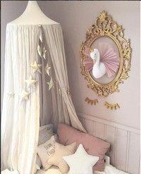 Wish | I3C Cute 3D Golden Crown Swan Wall Art Hanging Girl Swan Doll Stuffed Toy Animal Head Wall