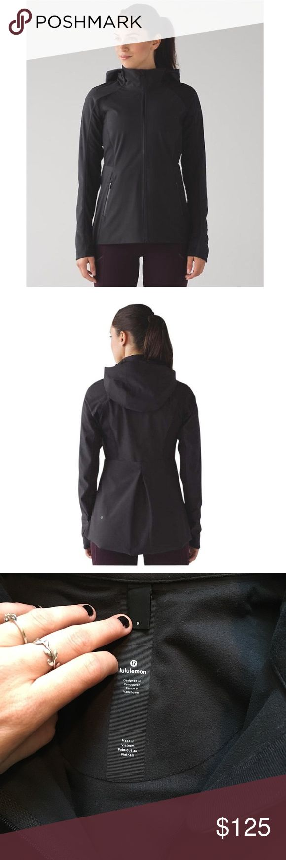 Sleet Sprinter Jacket by LuLulemon New without the tags sleet sprinter jacket from Lululemon Athletica. It's black, waterproof and adorable. I bought it online and 8 was the last in stock- so it's way too small for me but in perfect condition. The hood is removable and it has many pockets for on the go storage! lululemon athletica Jackets & Coats