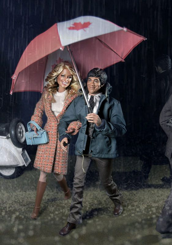 April Showers...bring May flowers!  Farrah and Bruce venture out in a rain storm