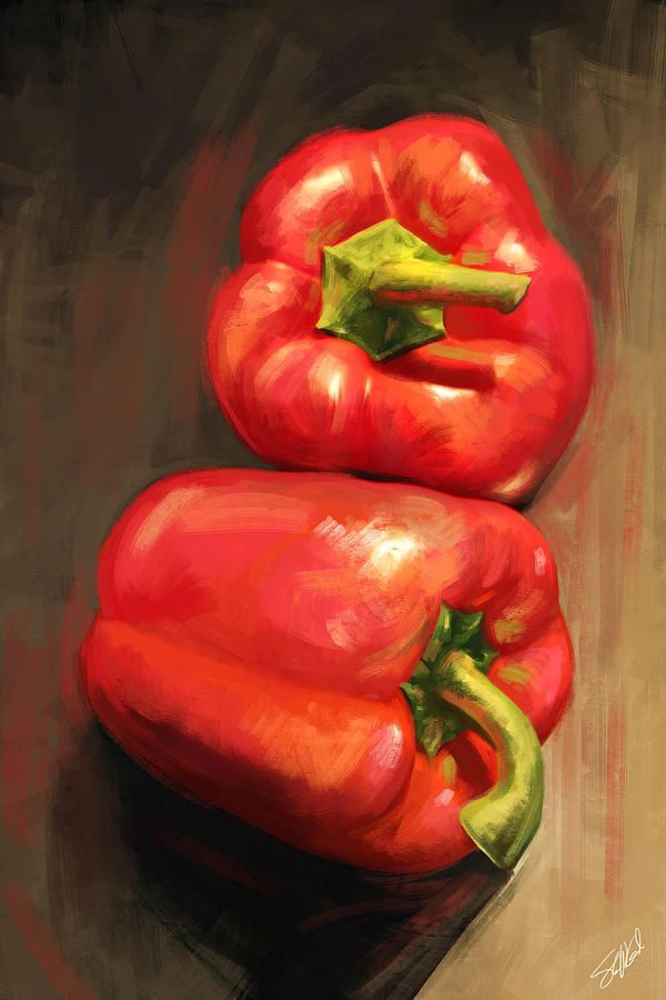 Still Life Vegetables Bell Peppers Red Kitchen Art Digital Art - Bell Peppers by Steve Goad