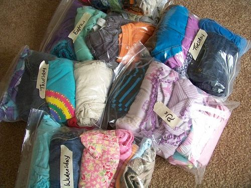 For Vacation: Pack a Ziploc bag with clothing for the kids each day!  Bring one shirt and one pants hanger for each family member...pull out clothes the night before, hang and spritz with a little water to have wrinkles out by the morning.