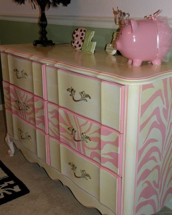 Vintage Painted Cottage Shabby Furniture French by TraceysFancy,  This would be so perfect for Emmie's big girl bedroom in purple, this would be easy to do and would dress up her plane white dressers i have for her :)