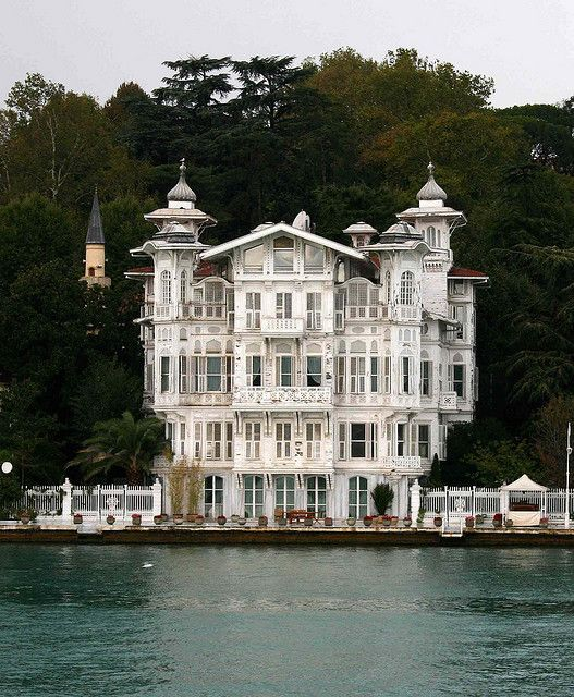 Interesting Home on the Bosphorus in Istanbul, Turkey. One of the many homes of the very affluent along the Bosphorus. Unusual architecture.