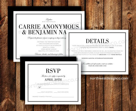 Modern Elegant Black and White Wedding Invitation Suite Details Card Accommodations Card RSVP Reply Card Printable Digital File or Printed
