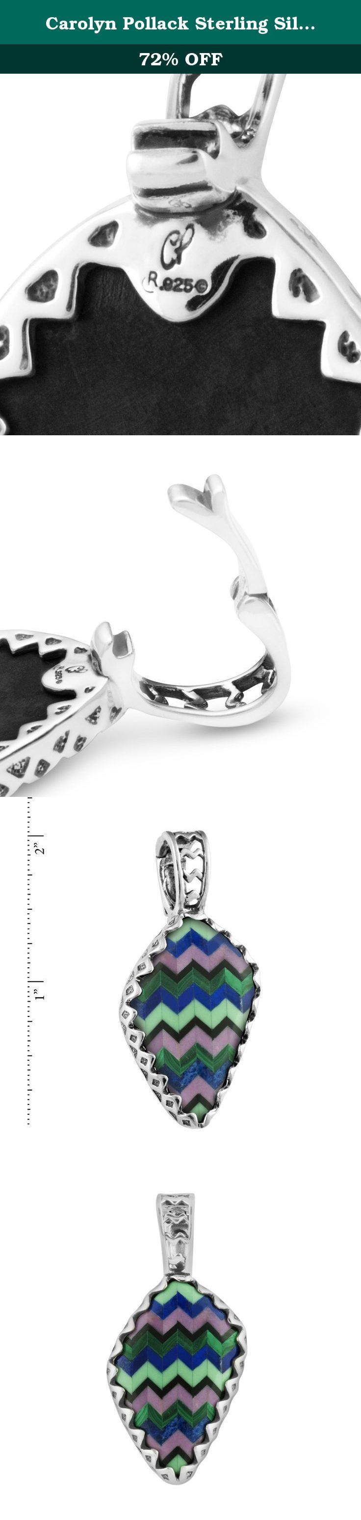Carolyn Pollack Sterling Silver Multi Gemstone Inlay Zig Zag Pendant Enhancer. In fashionable flair, waves of sterling silver surround zigzagging pops of color in this impressive enhancer. A channel inlay in cool colors of variscite, malachite, lapis, phosphosiderite, and jet make this enhancer unique and allow it to go with an abundance of looks and colors. Measures 2 inches L x 7/8 inch W with snap hinge bail. *Note: Color may vary due to characteristics of the natural stone. Our…