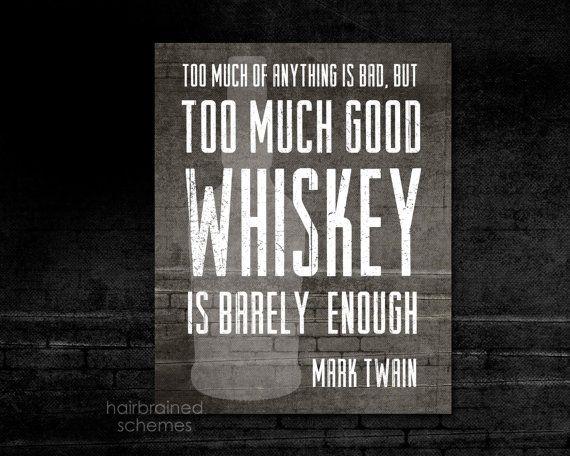 Good Whiskey Bar Decor Art Print Typography - Brick Distressed Black Gray Art Print -  Mad Men Husband Fathers Day Man Cave Mark Twain Quote on Etsy, $15.00