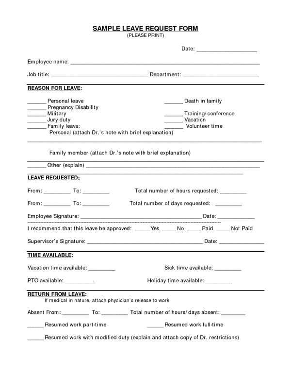Time Off Request Forms Word Excel Fomats Time Off Request Form