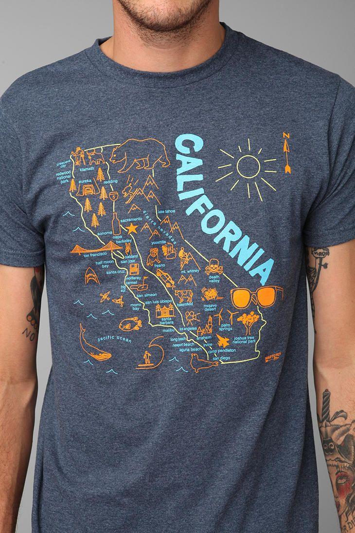 Shirt design san diego - Maptote Urban Outfitters California T Shirt