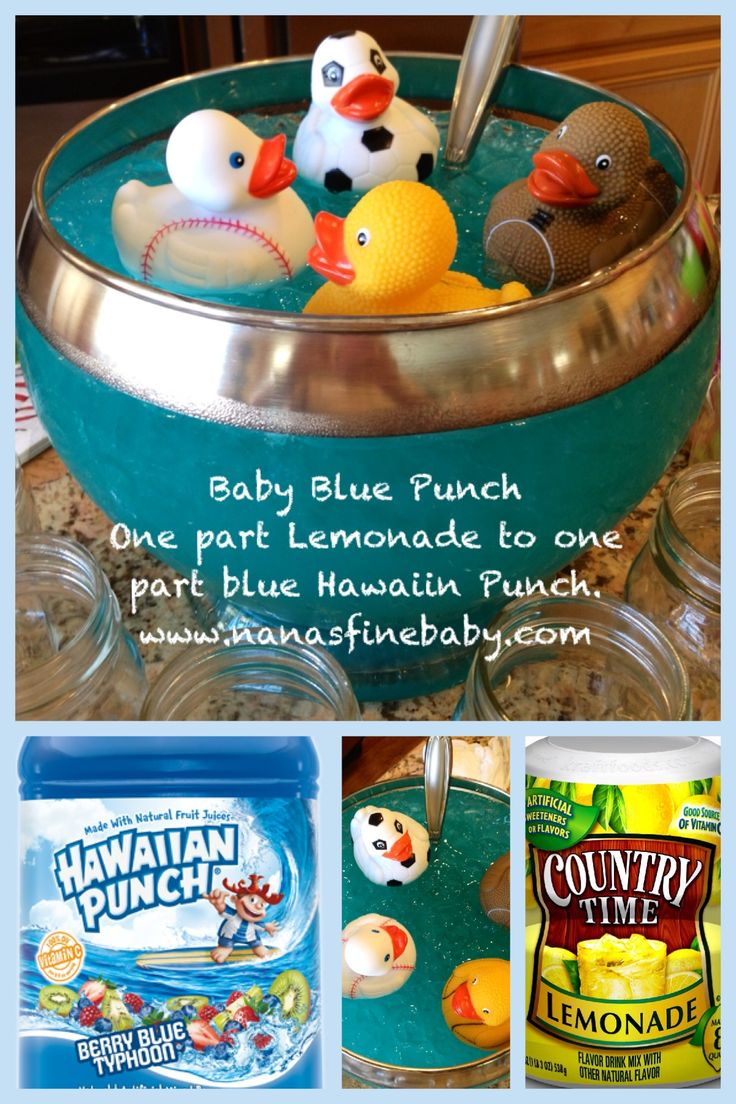 Baby Blue Punch one part lemonade to one part blue Hawaiin Punch, that's it! So easy and so good! #babyshower #baseballbabyshower #punch
