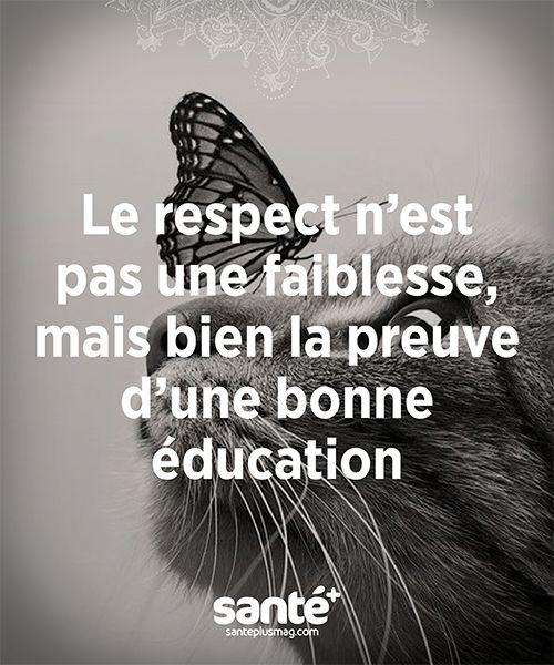 « Le respect n'est pas une fainlesse, mais bien la preuve d'une bonne éducation ».