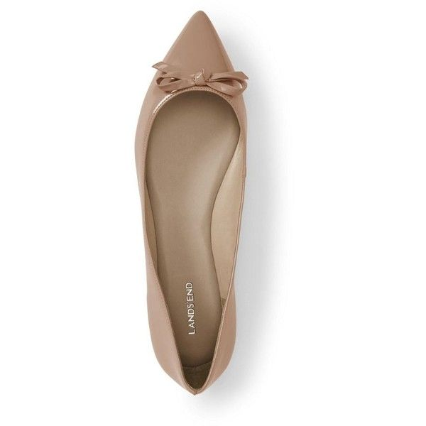 Lands' End Brown regular pointed toe ballet pumps ❤ liked on Polyvore featuring shoes, pointed ballet shoes, ballet shoes, retro style shoes, brown ballet shoes and ballet pumps