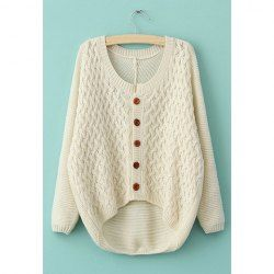$12.50 Long Sleeves Irregular Single-Breasted Sweet Style Acrylic Sweater For Women