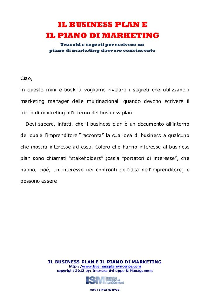 business-plan-e-piano-di-marketing by business plan vincente via Slideshare