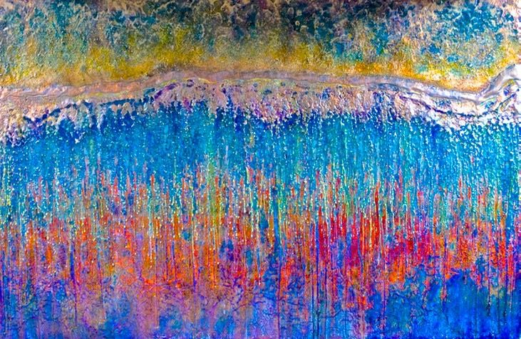 "Drew Wood, El Matador, color-shifting enamel, acrylic, found sand (from El Matador Beach, Malibu, CA), and synthetic resin on canvas, 72""x48""x2"", Darshan R. Shah, M.D., FACS Collection | Drew Wood Art | Drew Wood | DREW WOOD ART | Drew Wood"