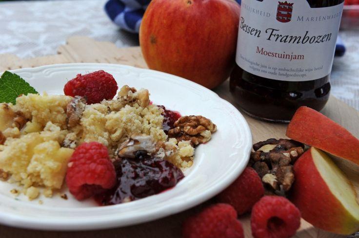 Appel-noten crumble met Bessen Frambozen Moestuinjam