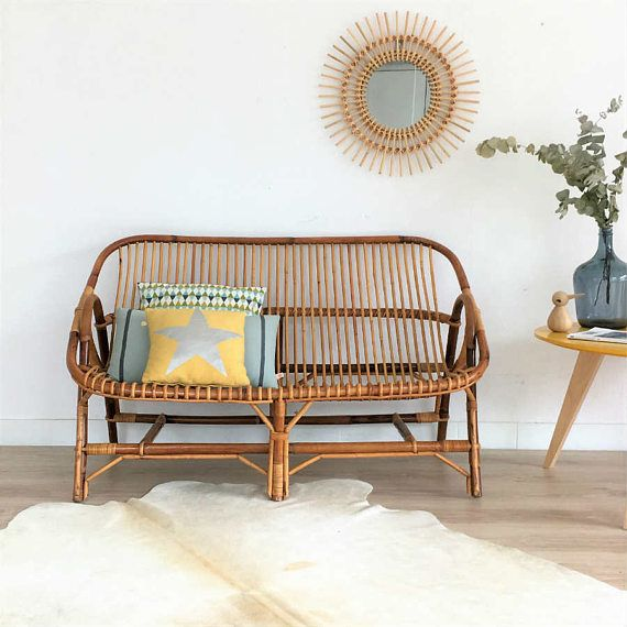 Rattan sofa breakwater bay clifford faux rattan sofa with for Seat covers for cane furniture