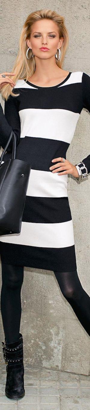 Madeleine Fall 2014 Knit Dress | The House of Beccaria~ #stripes #blackandwhite