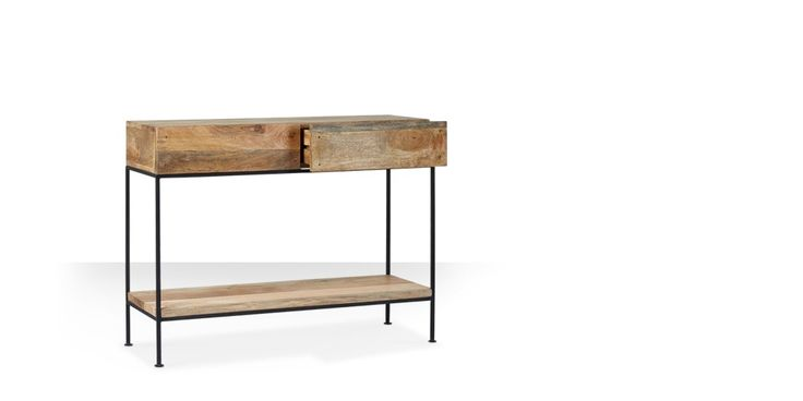 Swoon Editions Console table, contemporary-style in mango wood & iron - £249