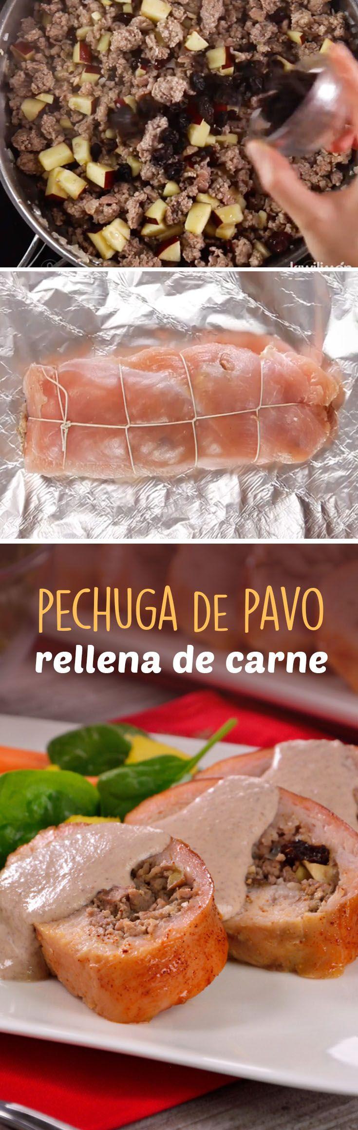 Prepara una deliciosa pechuga de pavo rellenad de carnes para Navidad