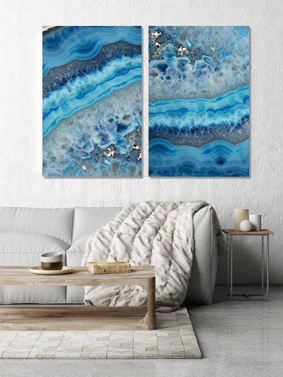Set of 2 Agate Prints - Prints (Print #062 & 063) - choose Fine Art Print or CANAVS - Mineral Geode Agate Decor  This Listing has 3 printing…