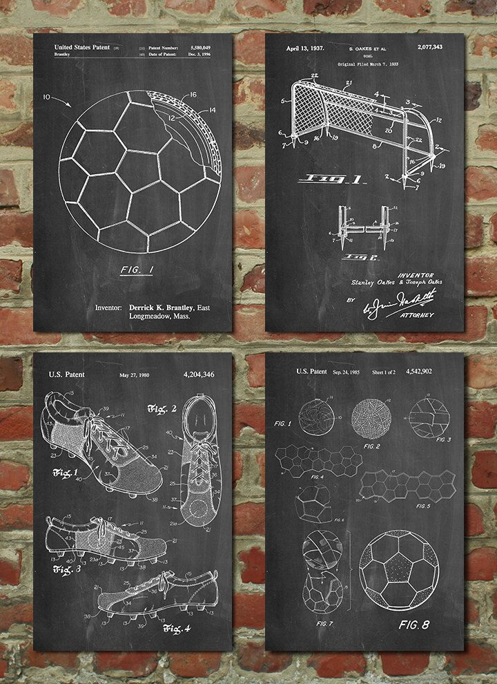 Soccer Patent Posters Group of 4, Soccer Gifts, Sports Decor, Soccer Mom, Soccer Wall Art by PatentPrints on Etsy https://www.etsy.com/listing/226108043/soccer-patent-posters-group-of-4-soccer