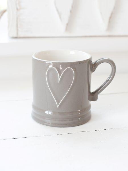 Natural Taupe Heart Mug.