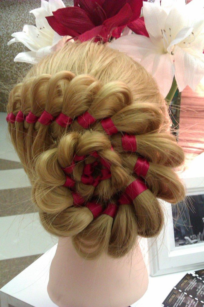 Braided Rose Bun With Ribbon Hairstyles Hairstyle Hair
